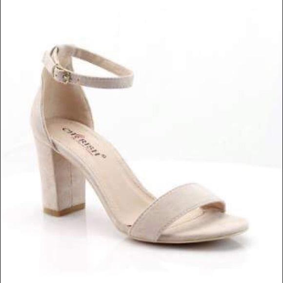 Cherish Shoes | Chunky Nude Heels